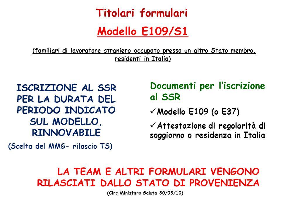 5. Titolari formulari Documenti per liscrizione al SSR Modello E109 (o E37) Attestazione di regolarità di soggiorno o residenza in Italia Modello E109