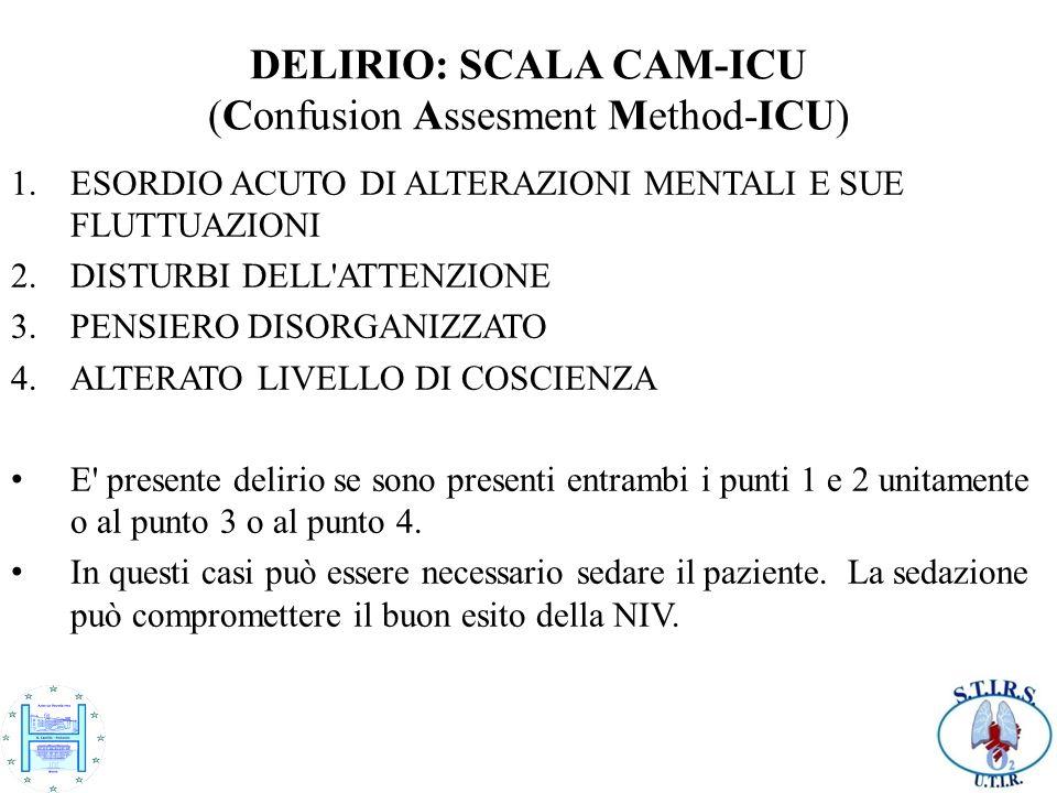 DELIRIO: SCALA CAM-ICU (Confusion Assesment Method-ICU) 1.ESORDIO ACUTO DI ALTERAZIONI MENTALI E SUE FLUTTUAZIONI 2.DISTURBI DELL'ATTENZIONE 3.PENSIER