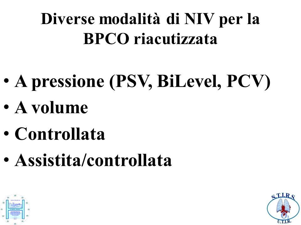 Diverse modalità di NIV per la BPCO riacutizzata A pressione (PSV, BiLevel, PCV) A volume Controllata Assistita/controllata