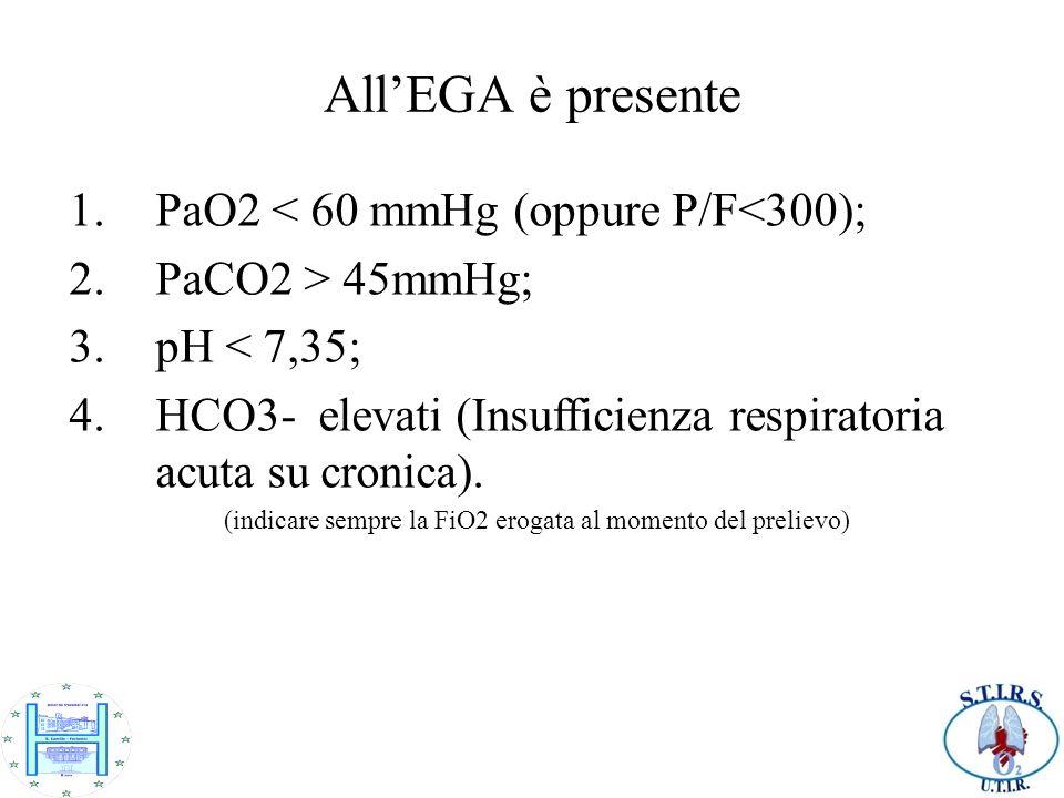 AllEGA è presente 1.PaO2 < 60 mmHg (oppure P/F<300); 2.PaCO2 > 45mmHg; 3.pH < 7,35; 4.HCO3- elevati (Insufficienza respiratoria acuta su cronica). (in