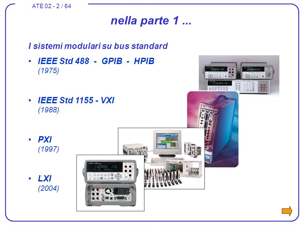 ATE 02 - 2 / 64 nella parte 1... I sistemi modulari su bus standard IEEE Std 488 - GPIB - HPIB (1975) IEEE Std 1155 - VXI (1988) PXI (1997) LXI (2004)