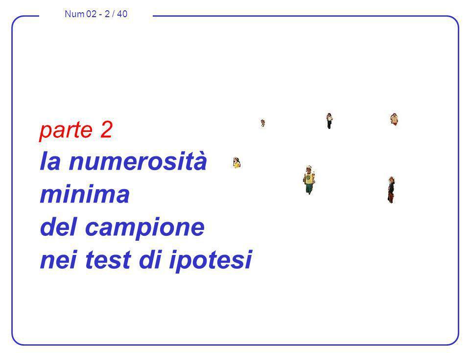 Num 02 - 2 / 40 parte 2 la numerosità minima del campione nei test di ipotesi