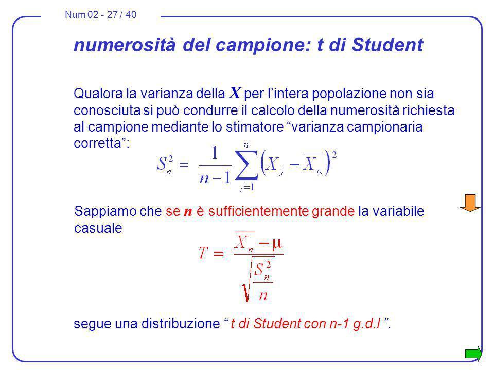 Num 02 - 27 / 40 numerosità del campione: t di Student Qualora la varianza della X per lintera popolazione non sia conosciuta si può condurre il calco
