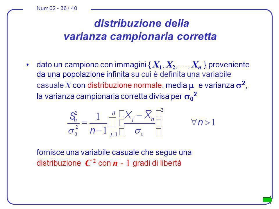 Num 02 - 36 / 40 distribuzione della varianza campionaria corretta dato un campione con immagini { X 1, X 2, …, X n } proveniente da una popolazione i