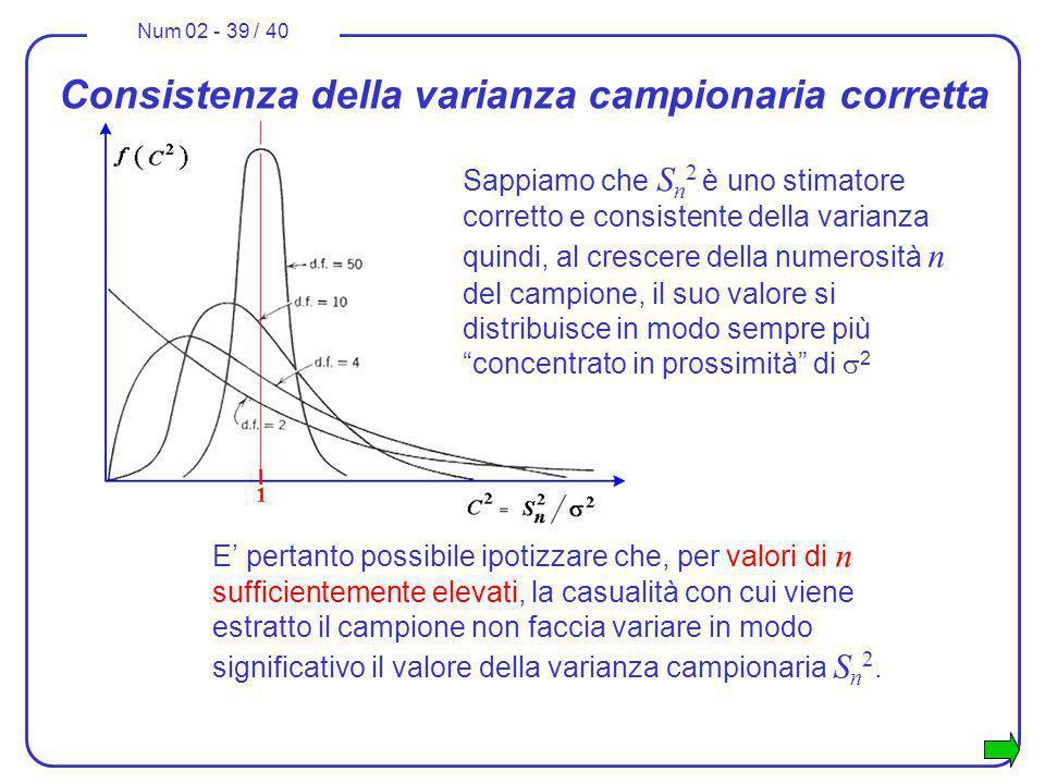 Num 02 - 39 / 40 Consistenza della varianza campionaria corretta Sappiamo che S n 2 è uno stimatore corretto e consistente della varianza quindi, al c