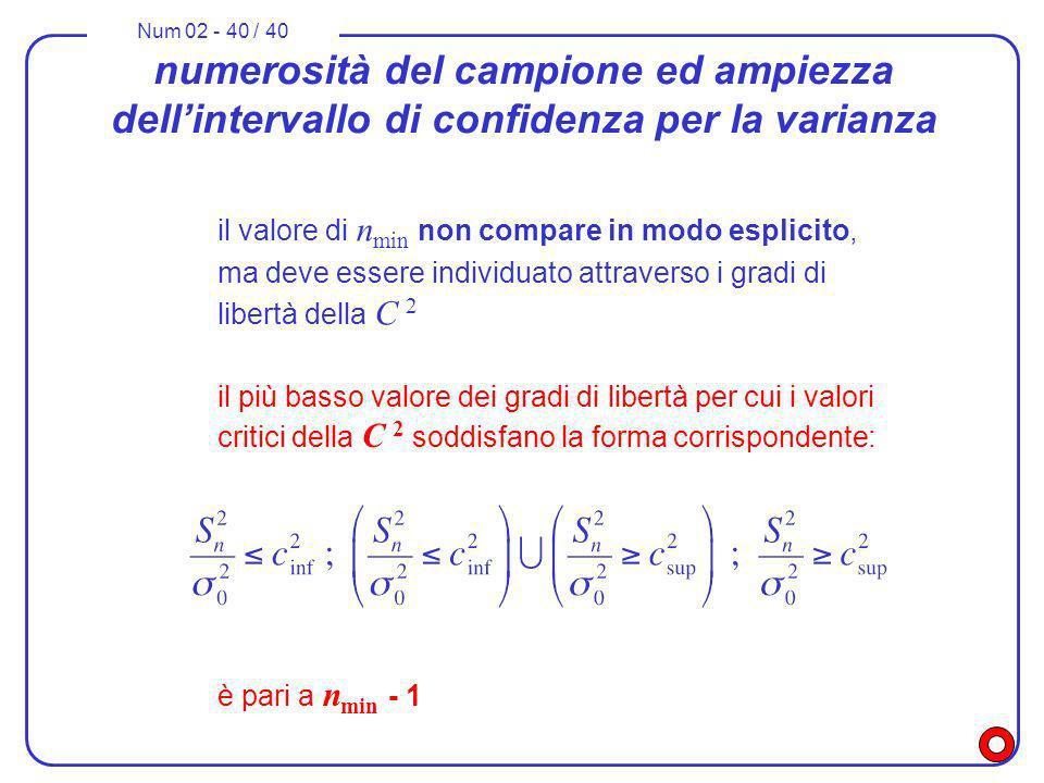 Num 02 - 40 / 40 numerosità del campione ed ampiezza dellintervallo di confidenza per la varianza il più basso valore dei gradi di libertà per cui i v