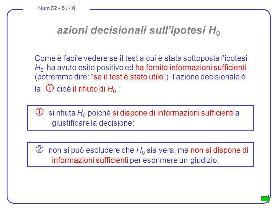 Num 02 - 5 / 40 azioni decisionali sullipotesi H 0 Come è facile vedere se il test a cui è stata sottoposta lipotesi H 0 ha avuto esito positivo ed ha