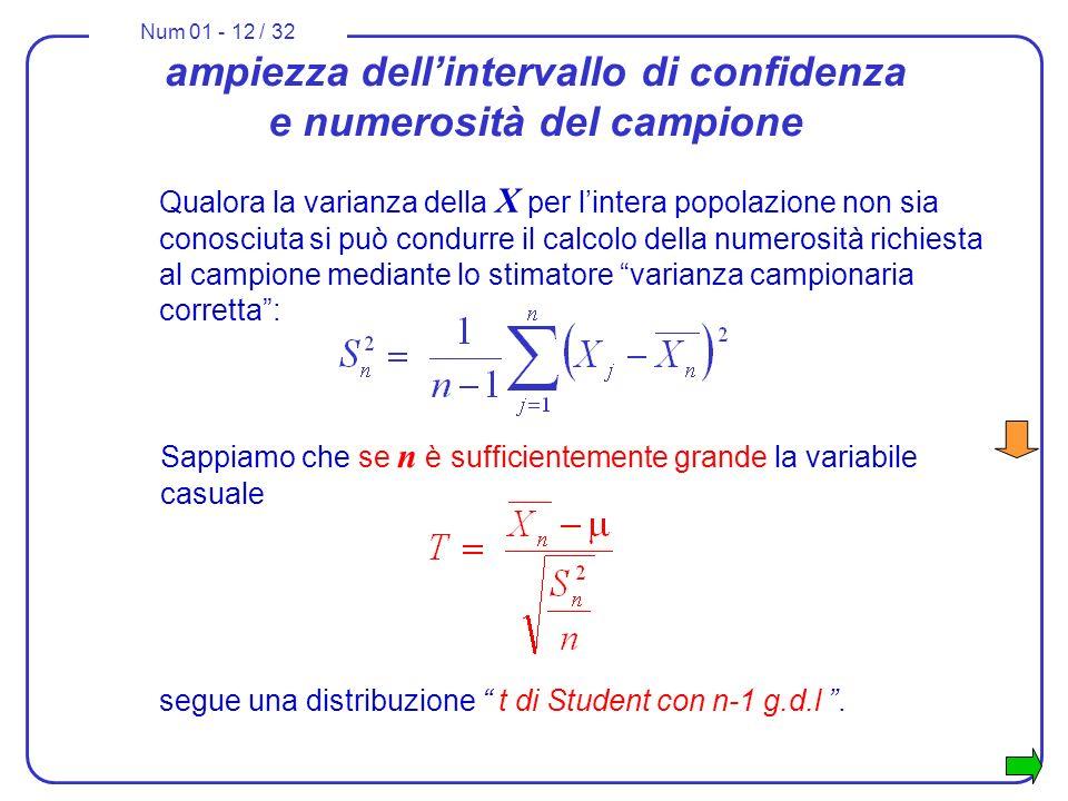 Num 01 - 12 / 32 ampiezza dellintervallo di confidenza e numerosità del campione Qualora la varianza della X per lintera popolazione non sia conosciut