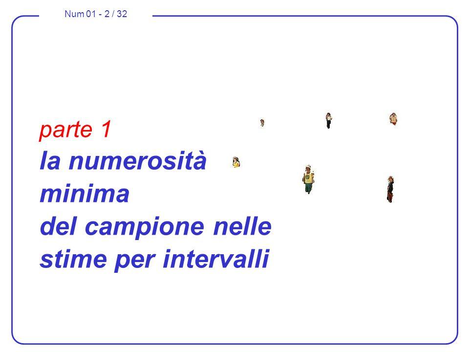 Num 01 - 2 / 32 parte 1 la numerosità minima del campione nelle stime per intervalli