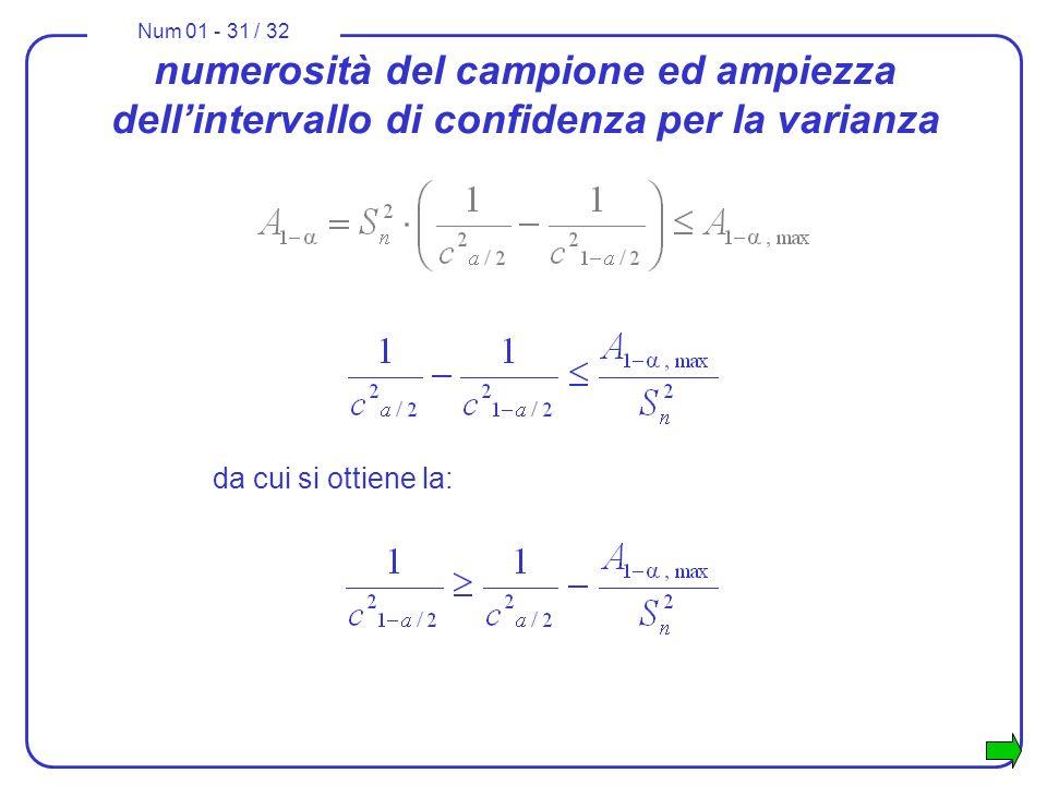 Num 01 - 31 / 32 numerosità del campione ed ampiezza dellintervallo di confidenza per la varianza da cui si ottiene la: