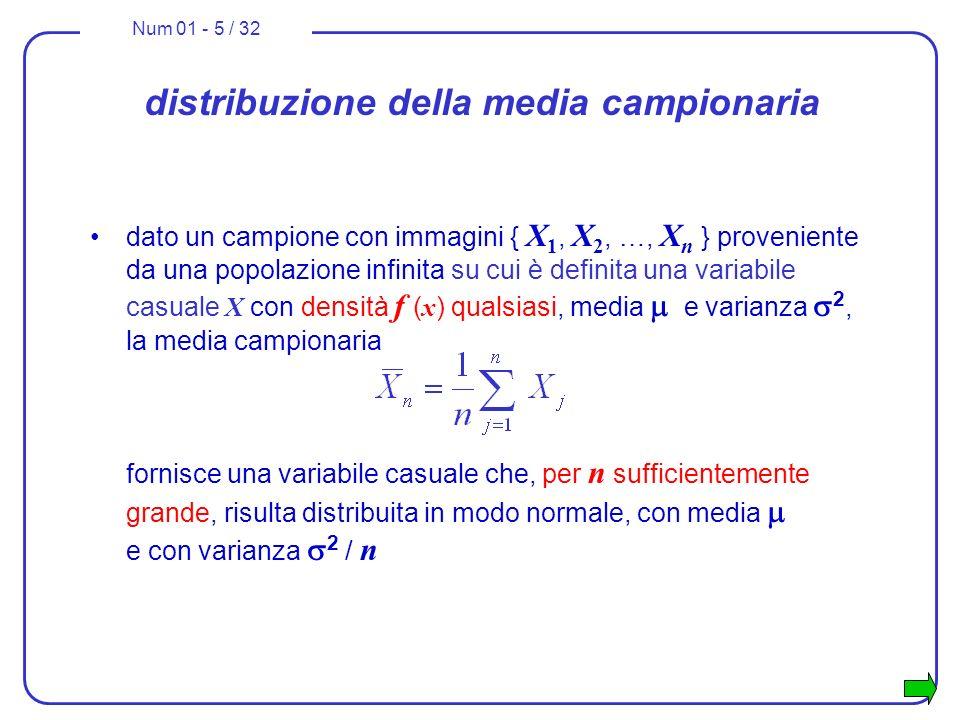 Num 01 - 5 / 32 distribuzione della media campionaria dato un campione con immagini { X 1, X 2, …, X n } proveniente da una popolazione infinita su cu