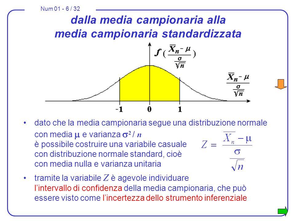 Num 01 - 6 / 32 dato che la media campionaria segue una distribuzione normale con media e varianza 2 / n è possibile costruire una variabile casuale c