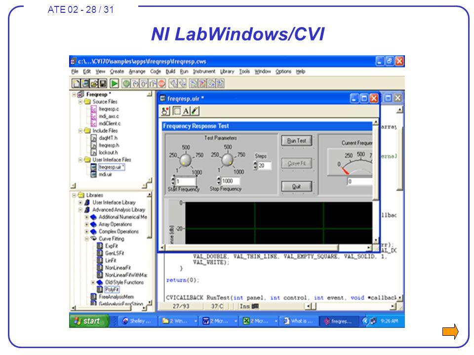 ATE 02 - 28 / 31 NI LabWindows/CVI