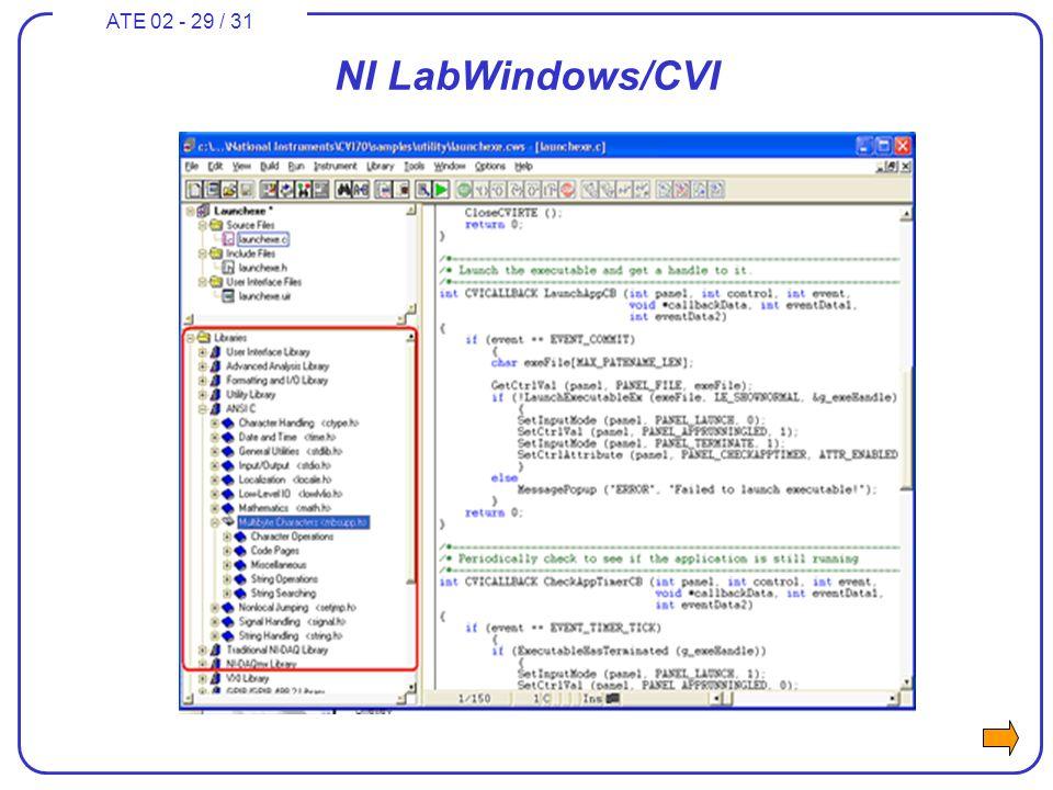 ATE 02 - 29 / 31 NI LabWindows/CVI