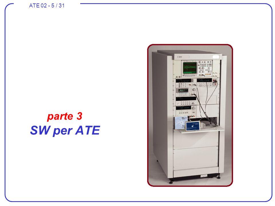 ATE 02 - 6 / 31 Programmazione del controller Linguaggi dedicati (80) Linguaggi grafici –NI LabVIEW –HP VEE Librerie per linguaggi di programmazione ad oggetti –NI Measurement Studio for Visual Basic, Visual C#, Visual C++,.NET Ambienti di sviluppo e generazione per linguaggi di programmazione imperativi –NI LabWindows/CVI for ANSI C