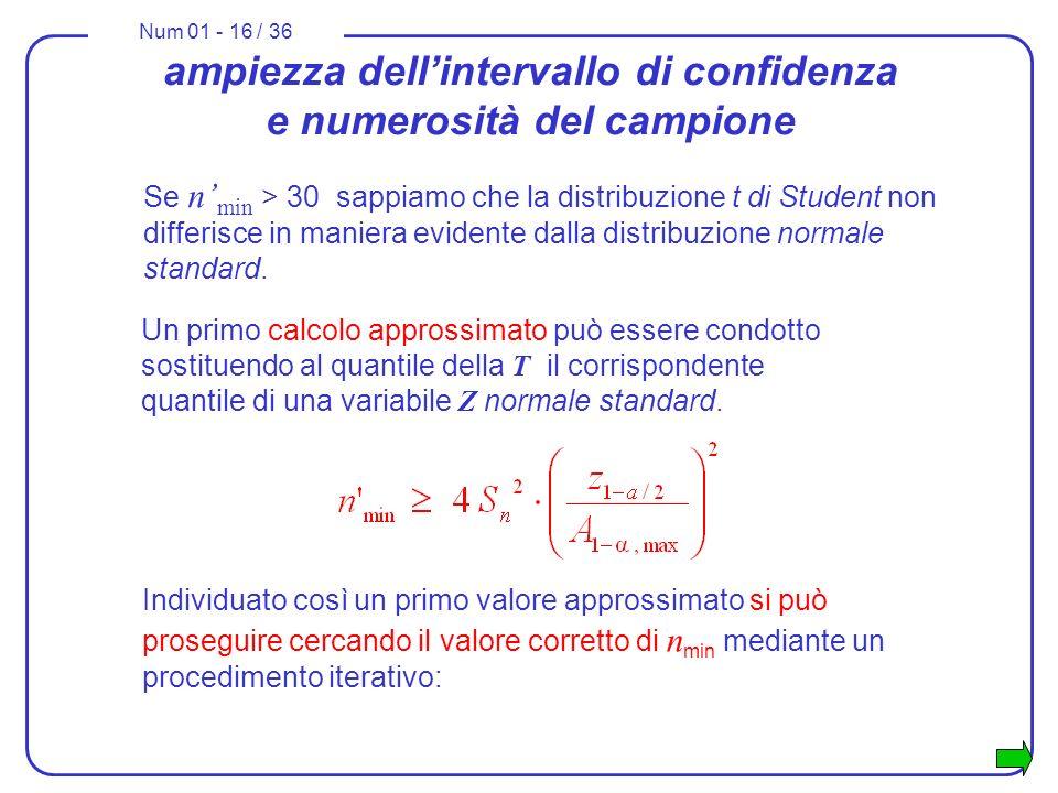 Num 01 - 16 / 36 ampiezza dellintervallo di confidenza e numerosità del campione Un primo calcolo approssimato può essere condotto sostituendo al quantile della T il corrispondente quantile di una variabile Z normale standard.