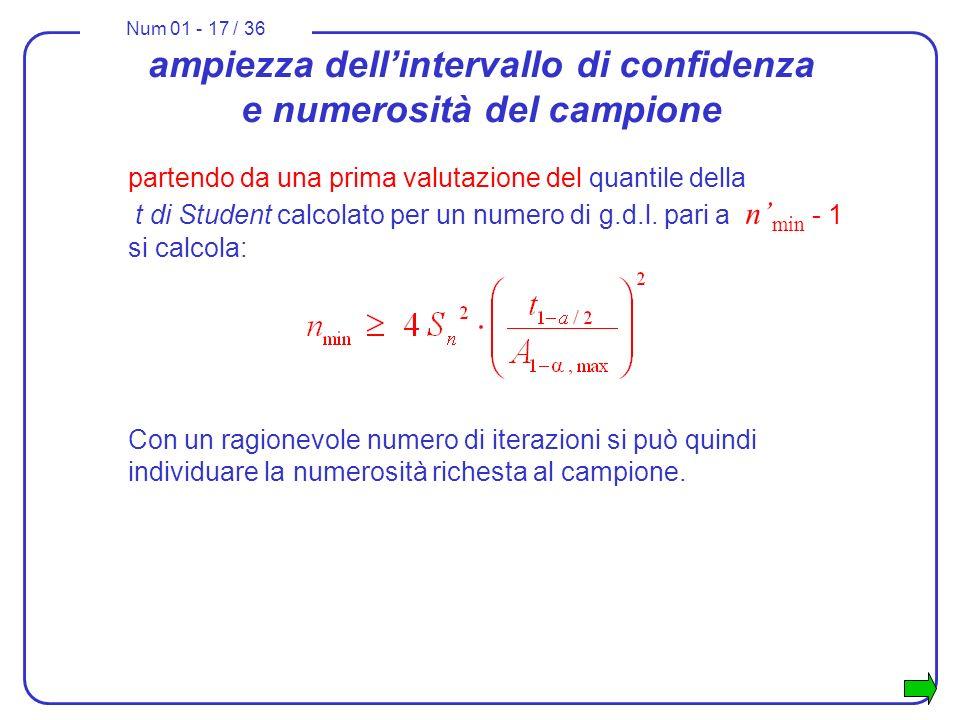 Num 01 - 17 / 36 ampiezza dellintervallo di confidenza e numerosità del campione partendo da una prima valutazione del quantile della t di Student calcolato per un numero di g.d.l.