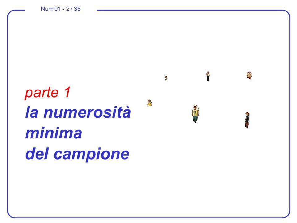 Num 01 - 2 / 36 parte 1 la numerosità minima del campione