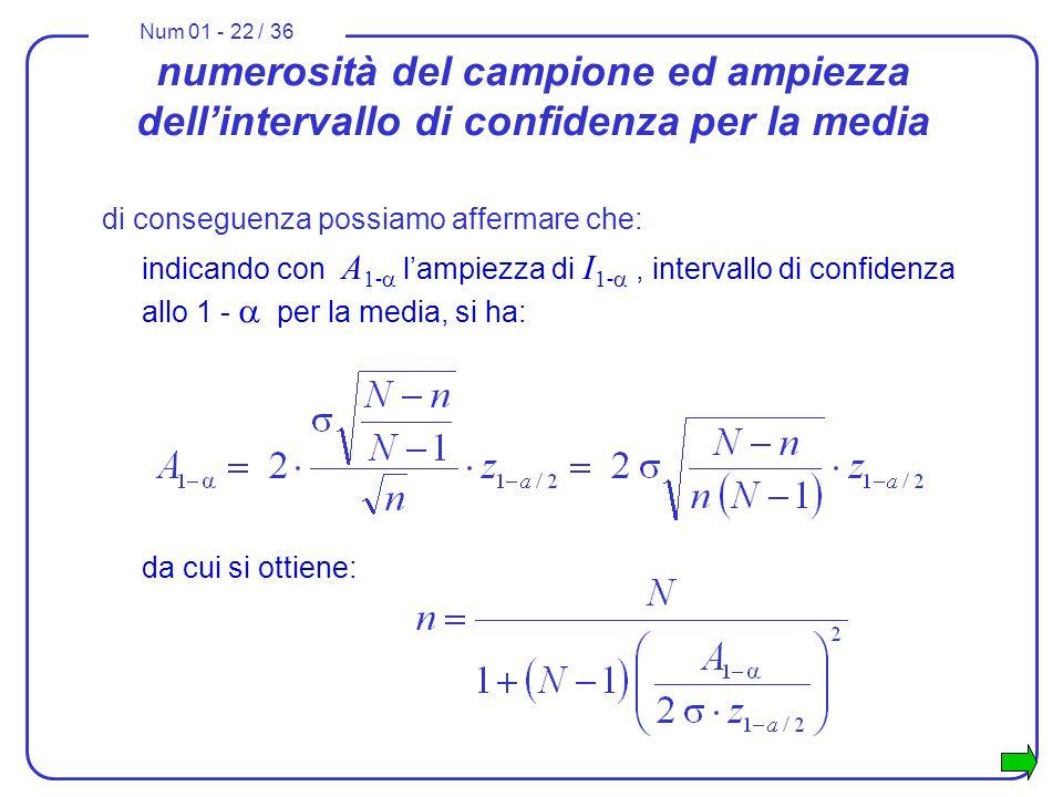 Num 01 - 22 / 36 di conseguenza possiamo affermare che: indicando con A 1 - lampiezza di I 1 -, intervallo di confidenza allo 1 - per la media, si ha: da cui si ottiene: numerosità del campione ed ampiezza dellintervallo di confidenza per la media