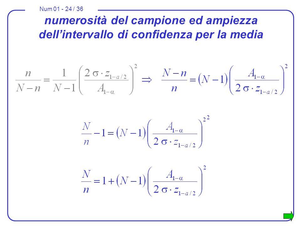 Num 01 - 24 / 36 numerosità del campione ed ampiezza dellintervallo di confidenza per la media