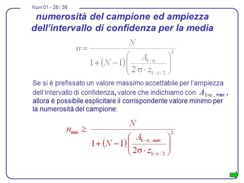 Num 01 - 26 / 36 Se si è prefissato un valore massimo accettabile per lampiezza dellintervallo di confidenza, valore che indichiamo con A 1 - max, allora è possibile esplicitare il corrispondente valore minimo per la numerosità del campione: numerosità del campione ed ampiezza dellintervallo di confidenza per la media
