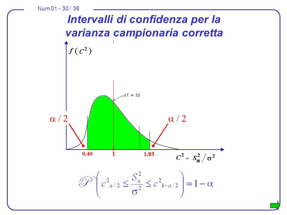 Num 01 - 30 / 36 Intervalli di confidenza per la varianza campionaria corretta / 2