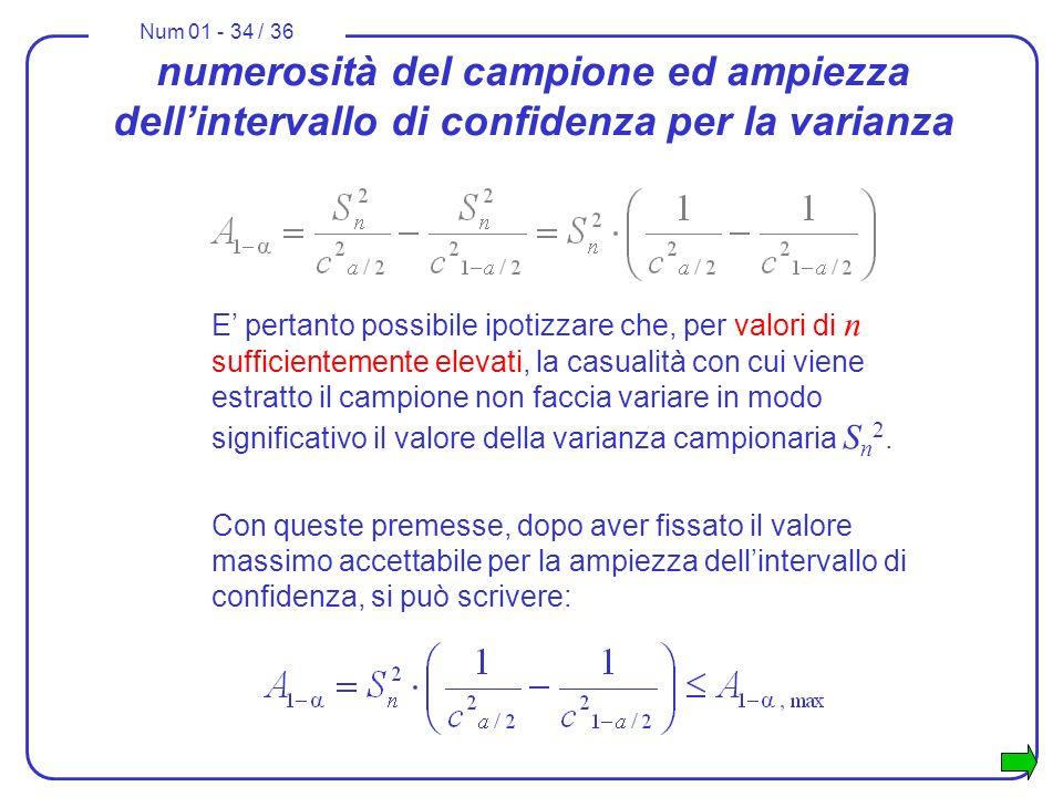 Num 01 - 34 / 36 numerosità del campione ed ampiezza dellintervallo di confidenza per la varianza E pertanto possibile ipotizzare che, per valori di n sufficientemente elevati, la casualità con cui viene estratto il campione non faccia variare in modo significativo il valore della varianza campionaria S n 2.