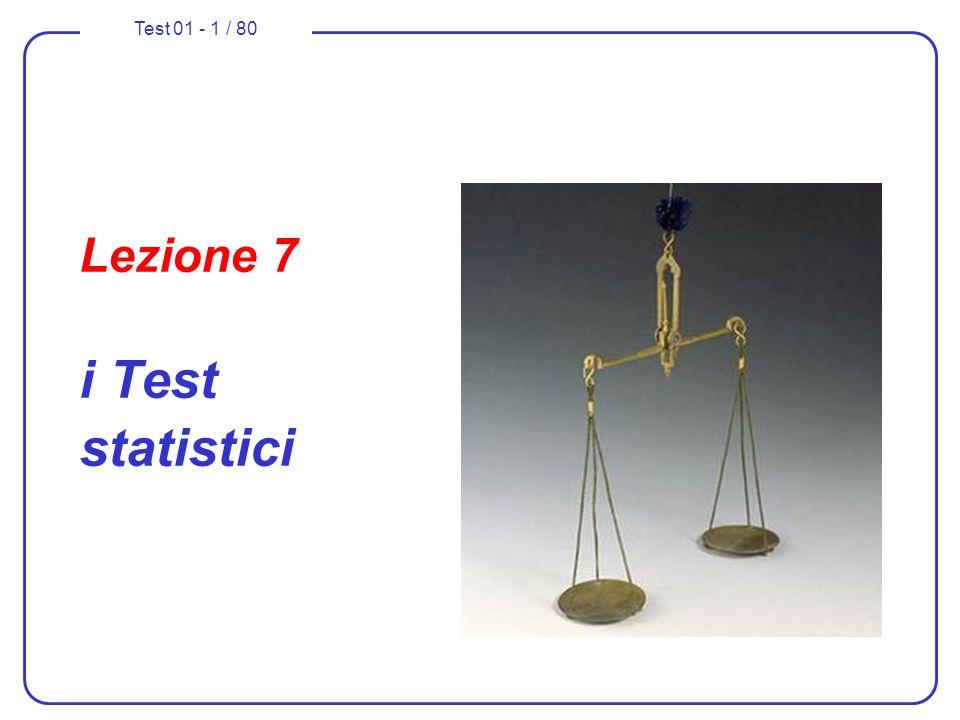 Test 01 - 62 / 80 Test di ipotesi sulla media (con 2 nota) 6.fissiamo il livello accettabile per il rischio di errore di prima specie: = 0,04 ( che comporta un livello di fiducia del 96% ); 8.calcoliamo il valore (oppure i valori) critici della statistica campionaria adottata che individuano le regioni di accettazione e di rifiuto della ipotesi principale H 0 in funzione del valore di che è stato prestabilito (0,04); utilizzeremo la distribuzione a due code in quanto lipotesi principale deve essere rigettata sia se la media della X per lintera popolazione risulta superiore a 0, sia se essa risulta inferiore a 0