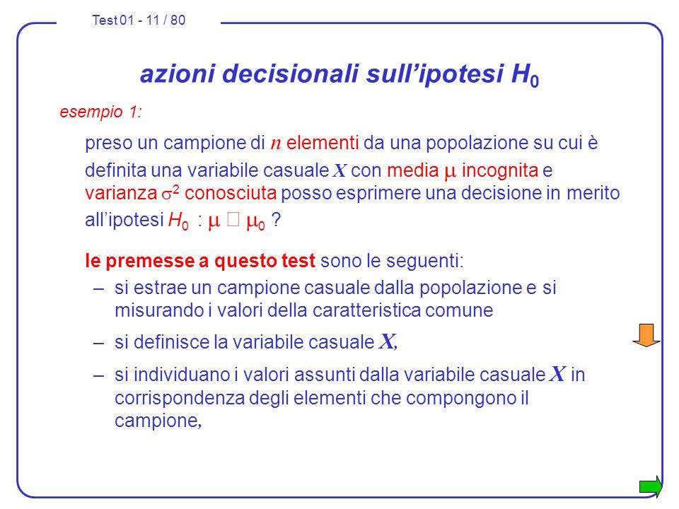 Test 01 - 11 / 80 azioni decisionali sullipotesi H 0 esempio 1: preso un campione di n elementi da una popolazione su cui è definita una variabile cas