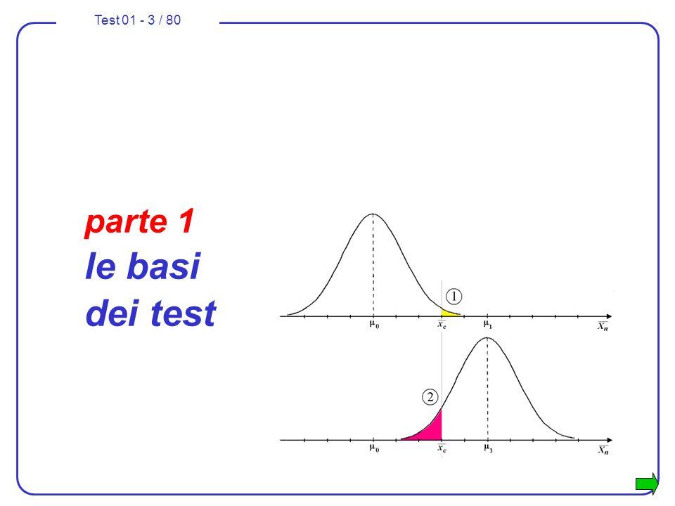 Test 01 - 44 / 80 formulazione di un test sulla media 5.si sceglie la variabile campionaria idonea a svolgere il test: se la varianza 2 è nota e se il campione è numeroso (n 30) si potrebbero usare indifferentemente: - la media campionaria che ha distribuzione normale con media e varianza 2 / n ; - la variabile che ha distribuzione normale standard.