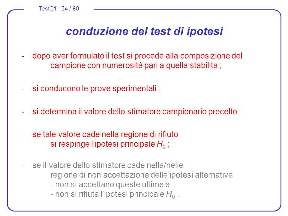 Test 01 - 34 / 80 conduzione del test di ipotesi -dopo aver formulato il test si procede alla composizione del campione con numerosità pari a quella s