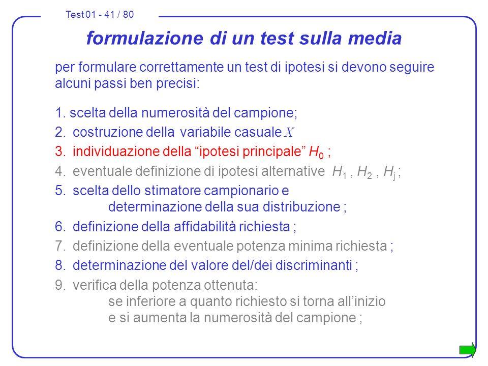 Test 01 - 41 / 80 formulazione di un test sulla media per formulare correttamente un test di ipotesi si devono seguire alcuni passi ben precisi: 1. sc