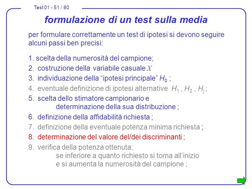 Test 01 - 51 / 80 formulazione di un test sulla media per formulare correttamente un test di ipotesi si devono seguire alcuni passi ben precisi: 1. sc