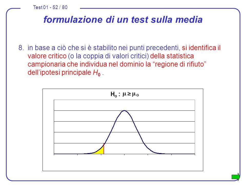 Test 01 - 52 / 80 formulazione di un test sulla media 8.in base a ciò che si è stabilito nei punti precedenti, si identifica il valore critico (o la c