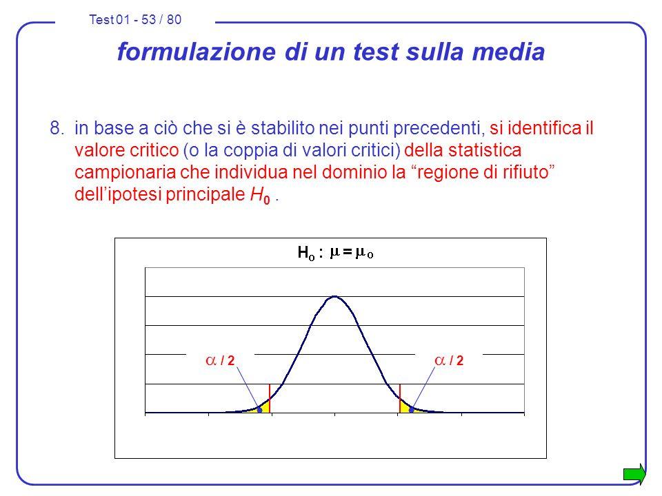 Test 01 - 53 / 80 formulazione di un test sulla media 8.in base a ciò che si è stabilito nei punti precedenti, si identifica il valore critico (o la c