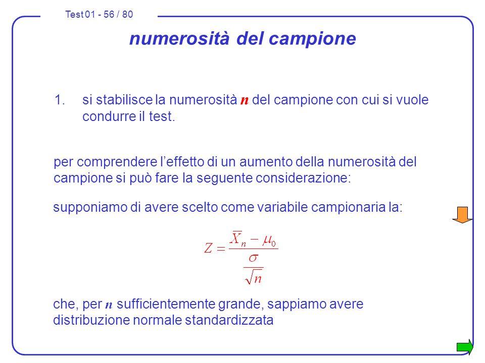 Test 01 - 56 / 80 numerosità del campione 1.si stabilisce la numerosità n del campione con cui si vuole condurre il test. supponiamo di avere scelto c