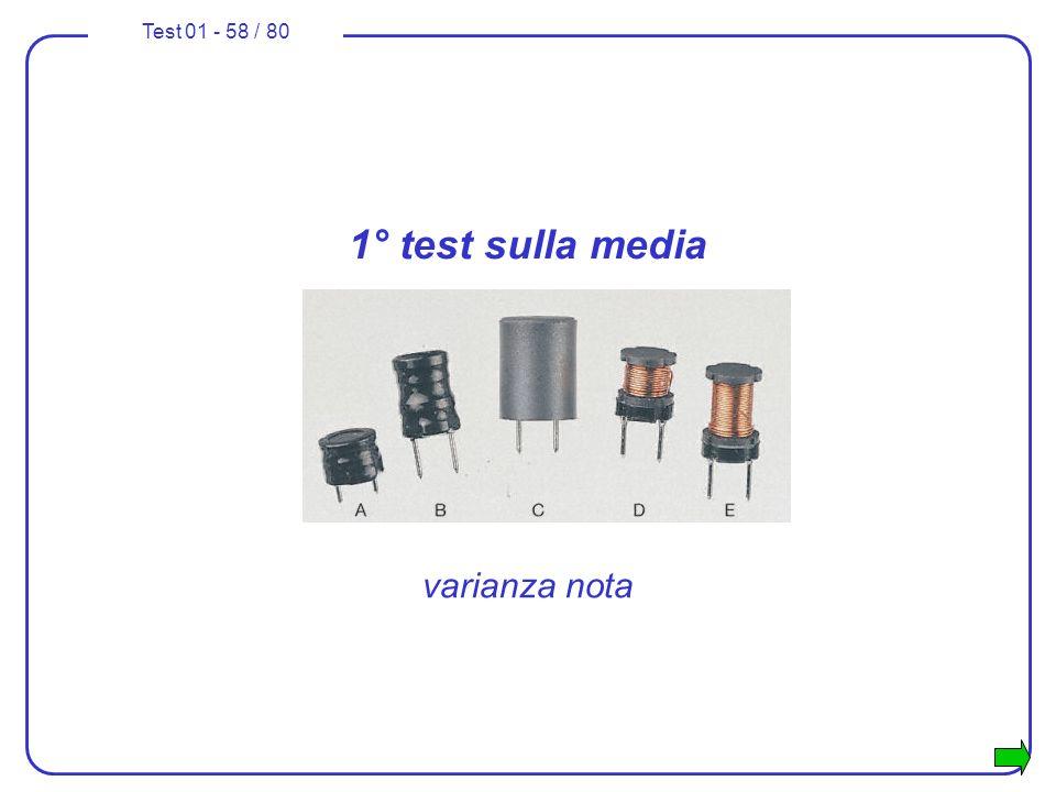 Test 01 - 58 / 80 1° test sulla media varianza nota