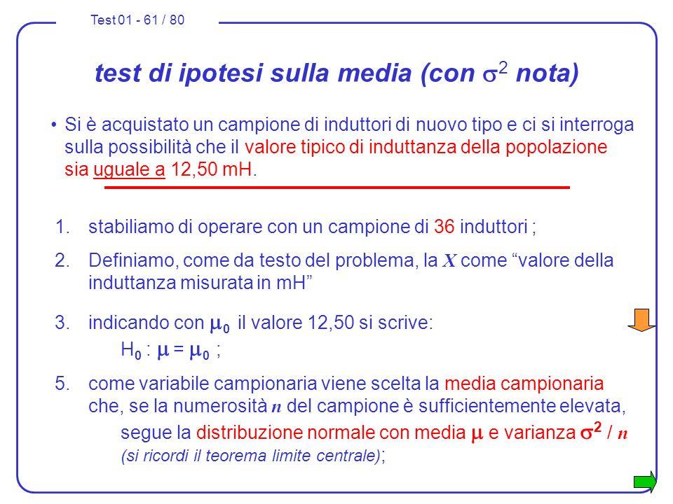 Test 01 - 61 / 80 test di ipotesi sulla media (con 2 nota) Si è acquistato un campione di induttori di nuovo tipo e ci si interroga sulla possibilità