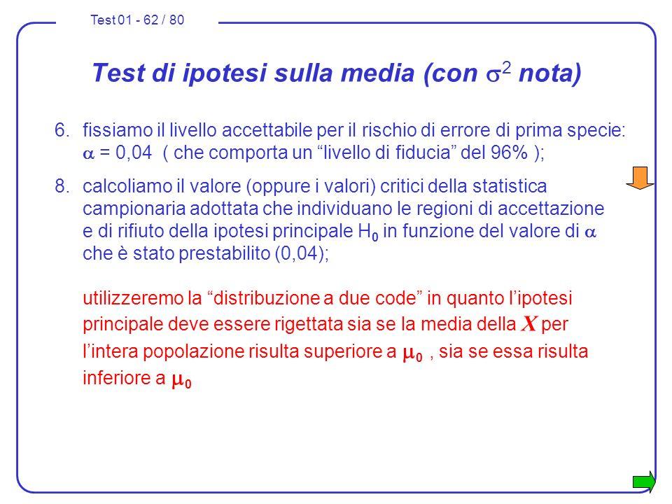 Test 01 - 62 / 80 Test di ipotesi sulla media (con 2 nota) 6.fissiamo il livello accettabile per il rischio di errore di prima specie: = 0,04 ( che co