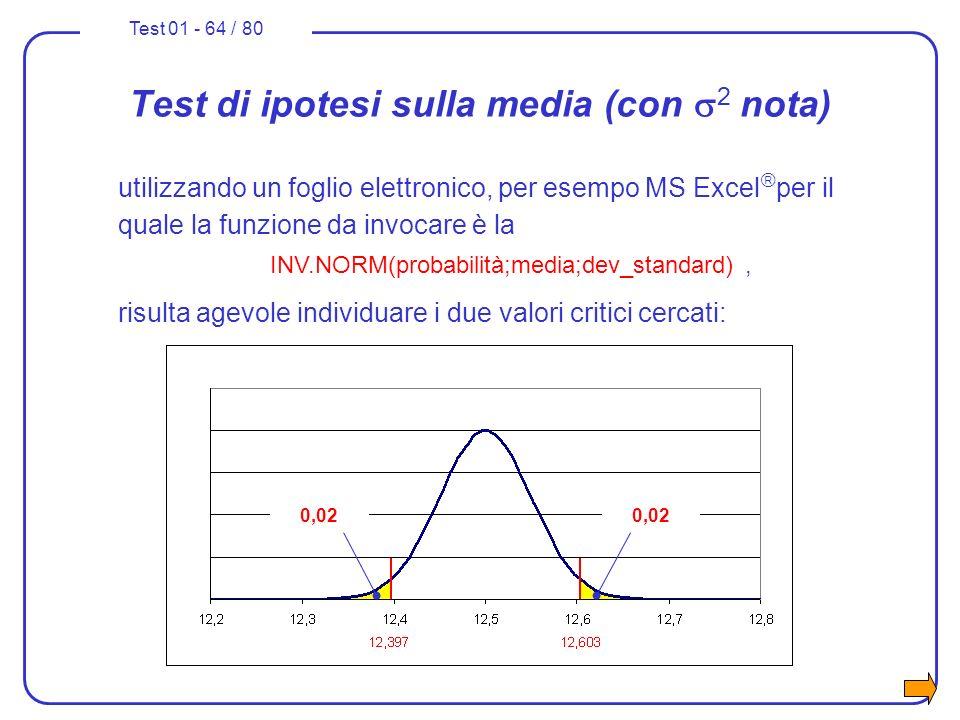 Test 01 - 64 / 80 Test di ipotesi sulla media (con 2 nota) utilizzando un foglio elettronico, per esempo MS Excel per il quale la funzione da invocare