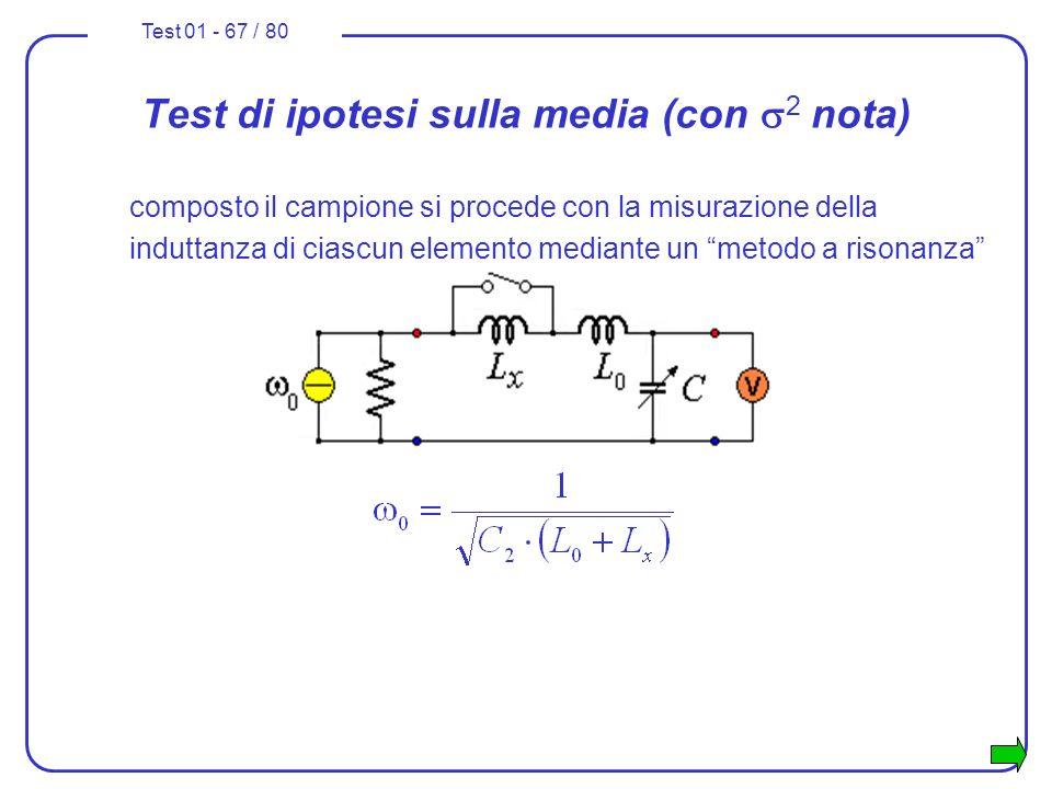 Test 01 - 67 / 80 composto il campione si procede con la misurazione della induttanza di ciascun elemento mediante un metodo a risonanza Test di ipote