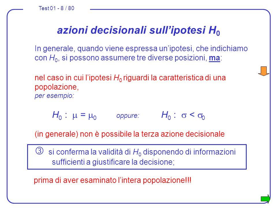 Test 01 - 9 / 80 azioni decisionali sullipotesi H 0 La conferma dellipotesi H 0 non è quindi possibile attraverso linferenza statistica e le prove a campione, ma può essere condotta esclusivamente con prove a tappeto.