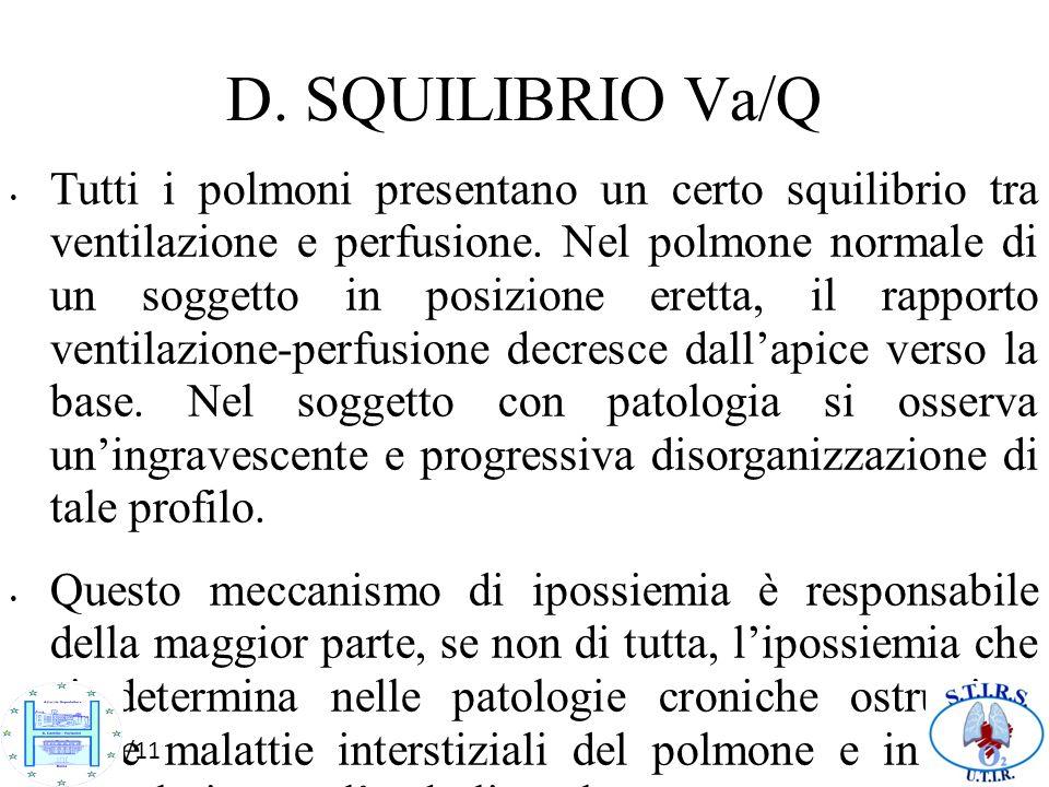 10/10/11 D. SQUILIBRIO Va/Q Tutti i polmoni presentano un certo squilibrio tra ventilazione e perfusione. Nel polmone normale di un soggetto in posizi