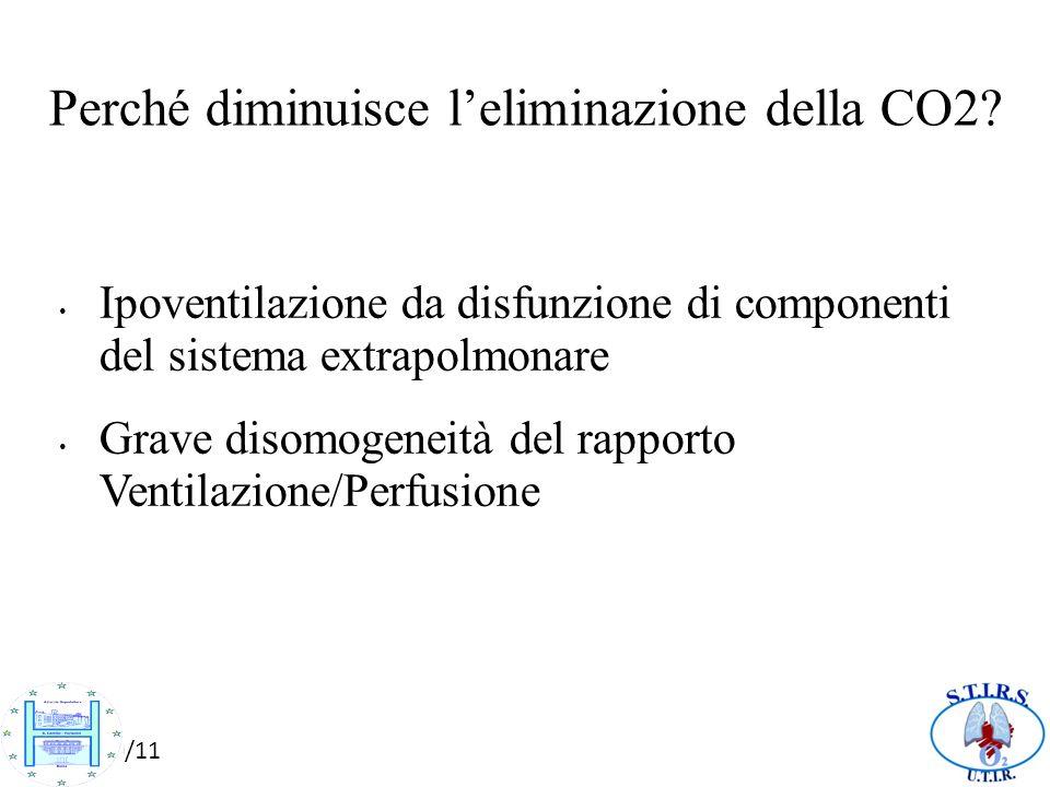 10/10/11 Perché diminuisce leliminazione della CO2? Ipoventilazione da disfunzione di componenti del sistema extrapolmonare Grave disomogeneità del ra
