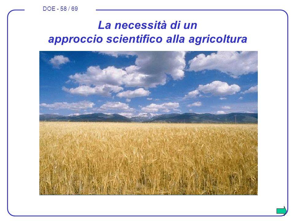 DOE - 58 / 69 La necessità di un approccio scientifico alla agricoltura