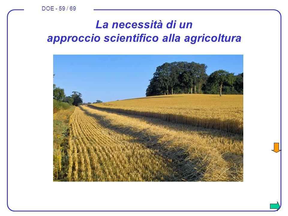 DOE - 59 / 69 La necessità di un approccio scientifico alla agricoltura