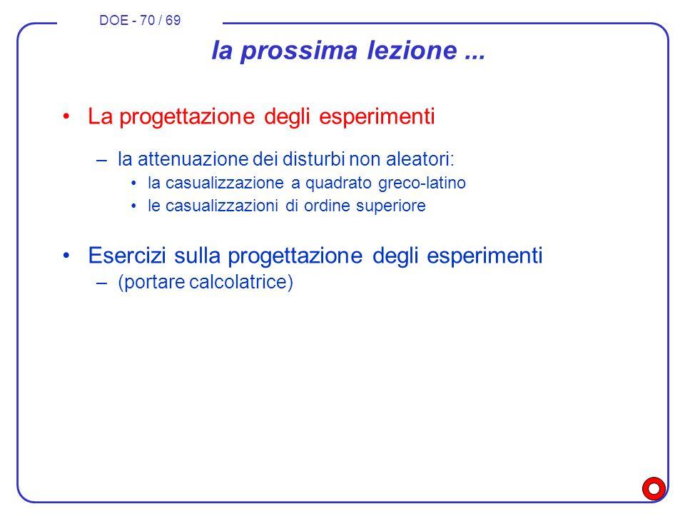 DOE - 70 / 69 la prossima lezione... La progettazione degli esperimenti –la attenuazione dei disturbi non aleatori: la casualizzazione a quadrato grec