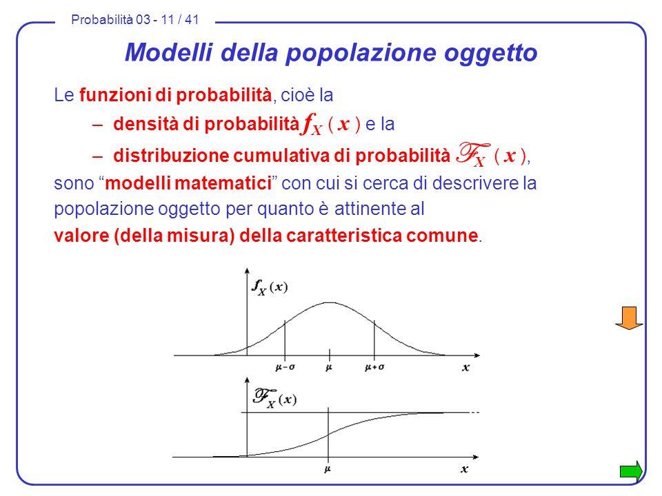 Probabilità 03 - 11 / 41 Modelli della popolazione oggetto Le funzioni di probabilità, cioè la –densità di probabilità f X ( x ) e la –distribuzione c