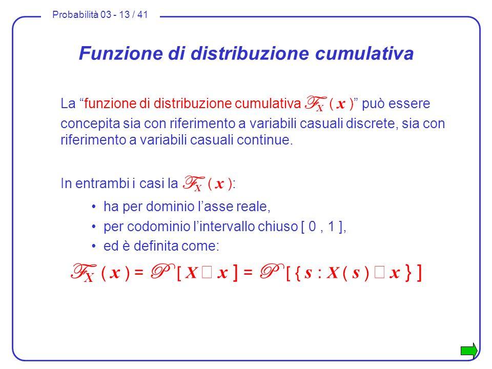 Probabilità 03 - 13 / 41 Funzione di distribuzione cumulativa La funzione di distribuzione cumulativa F X ( x ) può essere concepita sia con riferimen