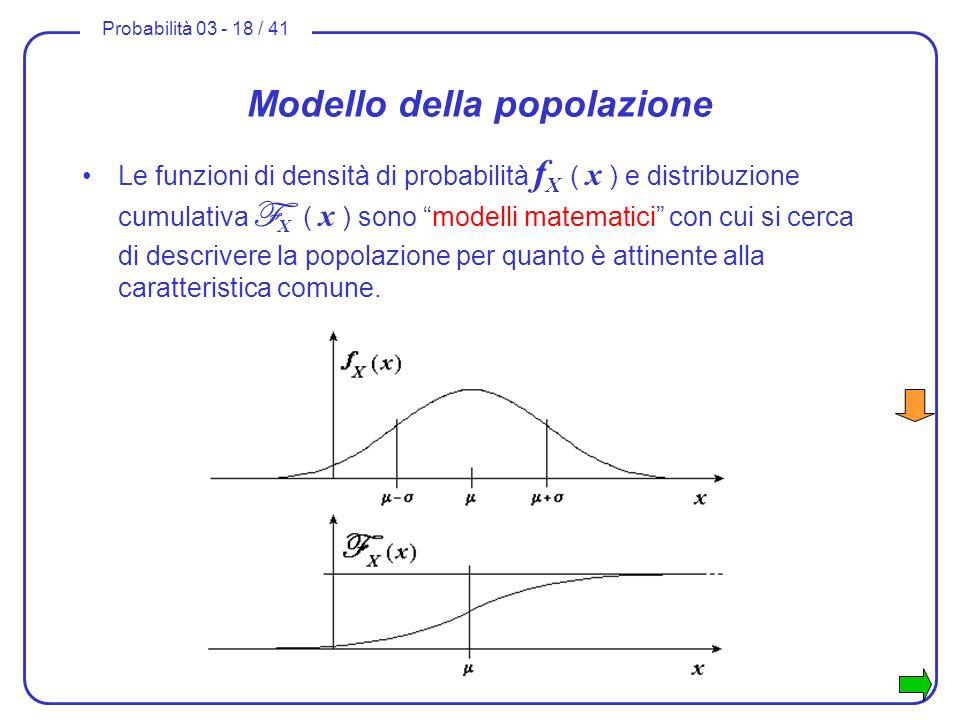 Probabilità 03 - 18 / 41 Modello della popolazione Le funzioni di densità di probabilità f X ( x ) e distribuzione cumulativa F X ( x ) sono modelli m